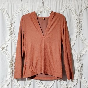 Lucy Orange Floral V Neck Hoodie Sweater M